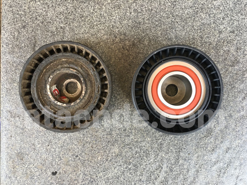 old  vs new pulley tensioner