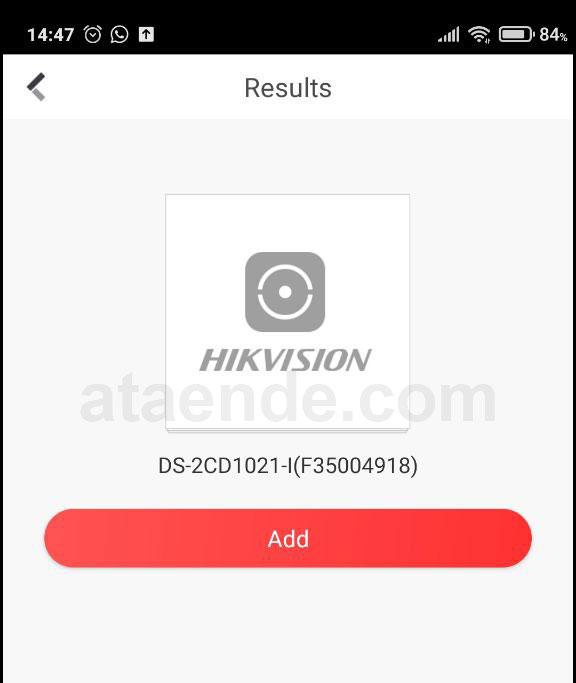 Halaman results tambah ip camera hik connect