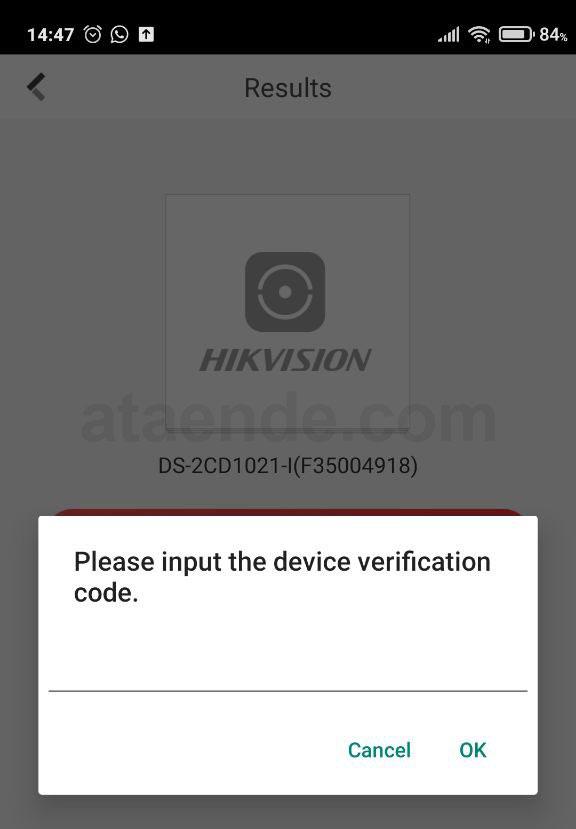 Kode verifikasi hik connect