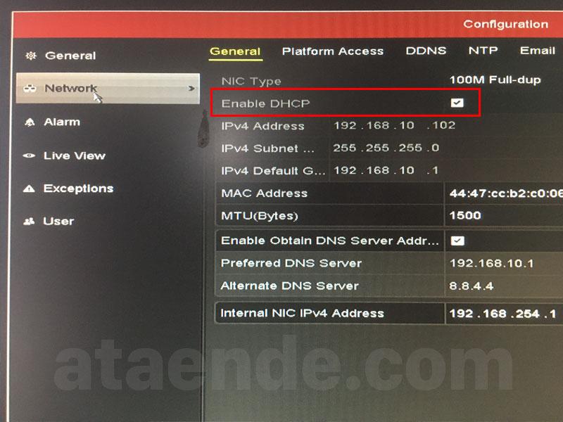 Network menu DVR Hikvision