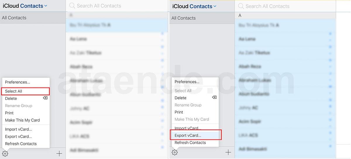 Export kontak dari Icloud ke android